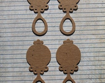 4 Bare chipboard baby rattle diecuts