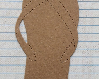 4 Large Bare chipboard die cuts Flip Flop diecuts 5 1/4 inches long
