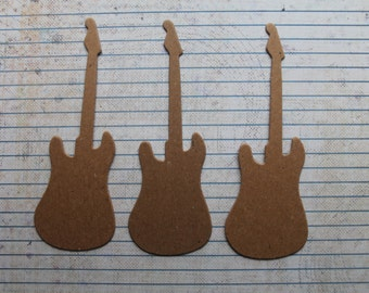3 Medium Bare chipboard die cuts guitar diecuts 4 7/8 inches long