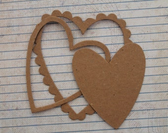 3  Bare chipboard die cuts Scalloped Edge Heart Diecuts each separates into 3 pieces