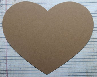 2 Jumbo Bare Heart Shaped chipboard die cuts 10 inches x 8 inches