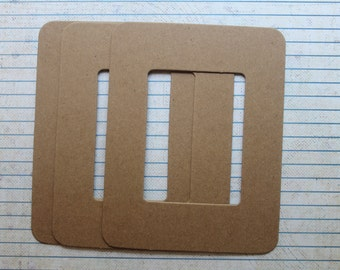 3 Bare Chipboard diecut frames Rectangle Frame Die Cuts inner opening 2 1/8 w x 2 7/8 inches high