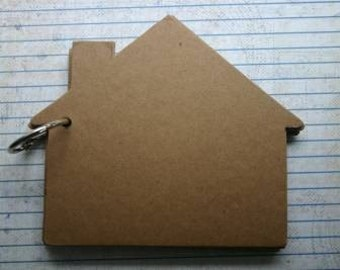 10 page Bare Chipboard die cut House Album bound with bookring