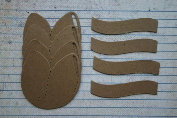 4 Bare/Unfinished chipboard die cuts Fortune Cookie Diecuts