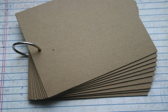 10 Page Rectangle Chipboard die cut Album with silver book ring