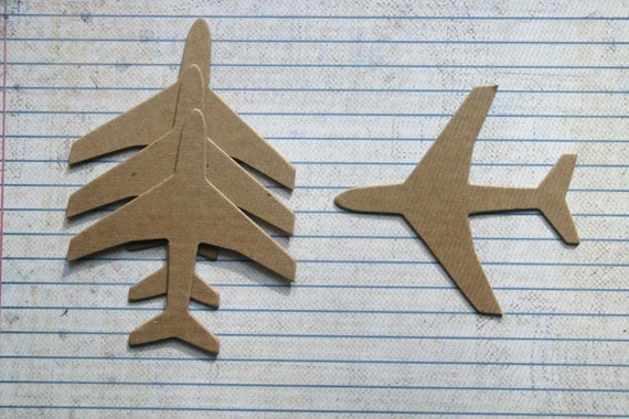 4 Bare chipboard die cuts medium AIRPLANE plane die cuts