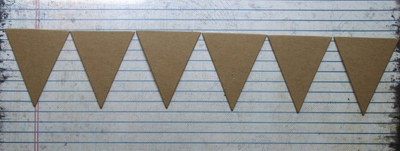 6 Bare chipboard die cut small triangle BANNER diecuts 1 7/8 x 2 1/4 inches