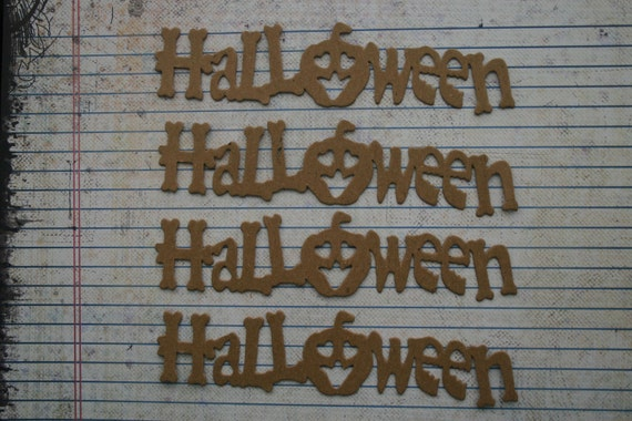4 Unfinished chipboard Halloween word diecuts word spelled with bones and pumpkin