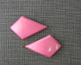 Vintage 60s French Barrettes- Pink Diamonds- Set of 2