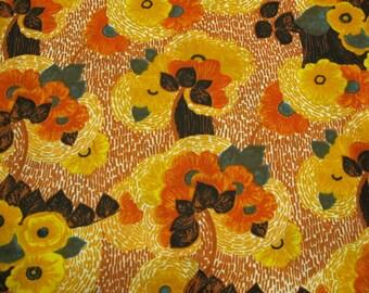 Vintage Fabric: 70's Orange Floral strech