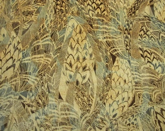 Vintage Fabric: Fun Fuzzy Nuetral Colored Feather Pattern