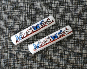 1960s French Barrettes- White butterfly duo