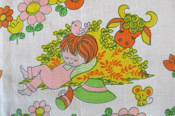 Vintage fabric nursery rhymes 1960s cotton by honeypot on etsy for Retro nursery fabric