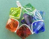 Rainbow, Suncatcher, Swarovski Crystal Pendant, Chakra, Sterling Silver Jewelry, Star, Flower, Ornament, Prism, Meditation, Yoga
