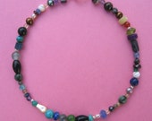 Gemstone Anklet, Semi-Precious, Sterling Silver, One of a Kind, Extravaganza in Gems, Shimmer Shimmer