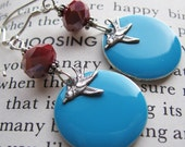 Happy Singing Bird Earrings, Turquoise Blue and Red Jewelry, Sterling Silver Ear Hooks, Shimmer Shimmer
