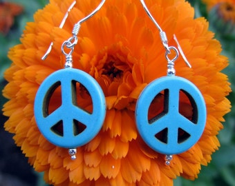 Peace Sign Earrings, Turquoise Magnesite Stone, Sterling Silver, Shimmer Shimmer