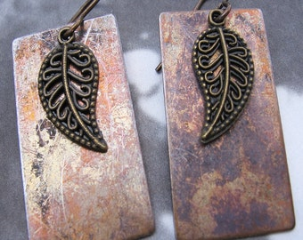 Metalwork Earrings, Leaf, Shabby Chic, Geometric, Rectangle Earrings, Patinaed Brass, Ready To Ship, Shimmer Shimmer