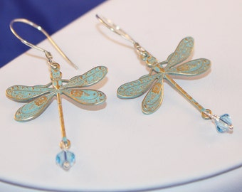 Baby Blue Dragonfly Earrings, Aqua Marine Swarovski Crystal, Sterling Silver, Shabby Chic, Shimmer Shimmer