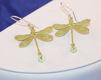 Lime Green Dragonfly Earrings, Sterling Silver, Swarovski Crystal, Shabby Chic, Wishes and Dreams Collection, Shimmer Shimmer