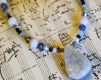 Druzy Statement Necklace, Blue Sapphire, Chalcedony, Labradorite, Agate, Swarovski, Blue Goldstone, Ready To Ship, Alyssa, Shimmer Shimmer