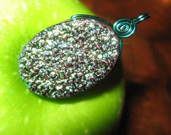 Teal Green Druzy Pendant, Peacock Druzy, Crystal Necklace Pendant, Crystal Wire Wrapped, Ready To Ship, Shimmer Shimmer