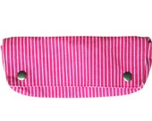Canvas pencil / makeup brush case : Pin Striped Pink