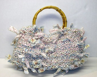 Handbag Knitting Pattern Knitting with Fabric Purse Knitting Patterns Rags to Riches Knitting Gifts Purse Patterns Purse Knitting Patterns