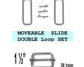 """10 DOUBLE Loop SETS - 1 1/2"""" - Moveable Sliders and 1 1/2 inch Rectangular Loops, Nickel Plate, 1.5"""