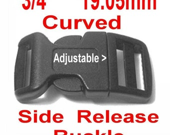"""10 BUCKLES - 3/4"""" - Curved Side Release, Strap Collar, 3/4 inch, Adjustable Polyacetal Plastic - BLACK or WHITE"""