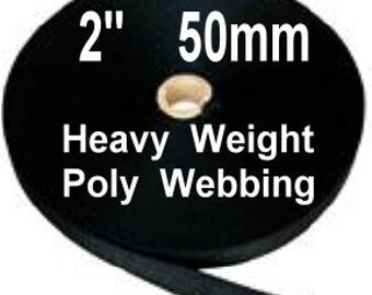 "5 Yards - 2"" - Polypropylene Webbing HEAVY Weight - Strap - BLACK"