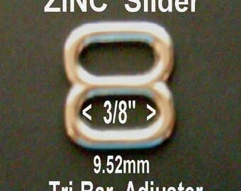 "100 PIECES - 3/8"" - Metal ZINC Diecast Slide, 3/8 inch, Tri-bar Nickel Plate, Buckle Strap Adjuster"