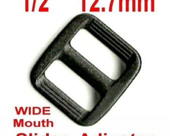 "20 PIECES - 1/2"" - Strap Adjuster, 1/2 inch, 3-Bar Slide, Heavy Duty Polyacetal Plastic, WIDE Mouth, 12.7mm, .5, Tri Bar"