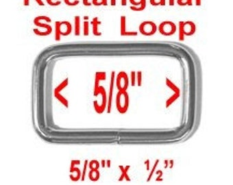 "50 PIECES - 5/8"" - Split Rectangular Loop Rings, 5/8 inch, Metal NICKEL Plate Finish, 15.875mm"