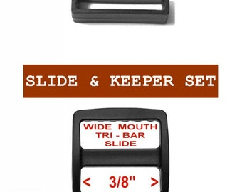 "20 SETS - 3/8"" - Strap Adjuster, 3-Bar Slide  and Keeper SET, Polyacetal Plastic, 9.5mm, Tri Bar, WIDE Mouth"