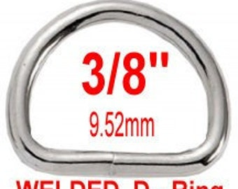 "20 PIECES - 3/8"" - WELDED D Rings, 3/8 inch, 9.52mm, NICKEL Plated"