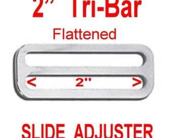 "20 PIECES - 2"" - STAMPED Tri Bar Adjuster Slide, 2 inch, Nickel Plate Finish, Purse Metal Buckle Slide"