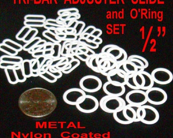 """24 SETS - 1/2"""" - WHITE, METAL, Tri Bar Slide Adjuster and O Ring, 12.7mm, Dyeable"""