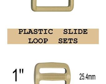 "10 SETS - 1"" - Strap Adjuster and Rectangular Loop, 1 inch, COYOTE Tan, Plastic, 25mm, 3 Bar Slider, Tri Bar"