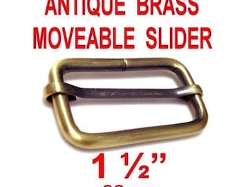 "5 PIECES - 1 1/2"" - Moveable Bar Slide, Strap Adjuster Slider, 1.5, 38mm - Antique BRASS Finish"