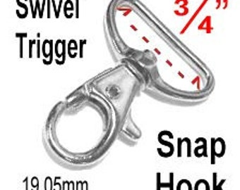 "20 PIECES - 3/4"" - Swivel Trigger Snap Lobster Claw Hook, 3/4 inch, 19.05mm, Purse Strap Clip, .75"