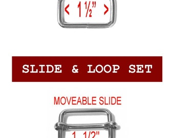 "5 SETS - 1 1/2"" - Slide and Loop SET, MOVEABLE Tri Bar, 1.5 Nickel Plate"