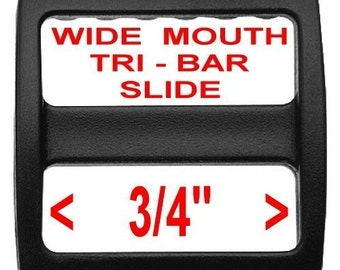 "20 PIECES - 3/4"" - Strap Adjuster, 3-Bar Slide, 3/4 inch, Heavy Duty Polyacetal Plastic, 19.05mm, Wide Mouth - BLACK or WHITE"