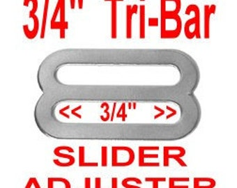 "100 PIECES - 3/4"" - Stamped Metal Buckle Slide, Tri Bar Strap Adjuster, NICKEL Plate Finish, 3/4 inch, 19mm"