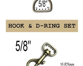 "10 SETS - 5/8"" - Wristlet Hardware, Purse Strap Clip, 5/8 Inch D ring and 5/8 Inch Swivel Snap Hook, ANTIQUE BRASS, 15.875mm"