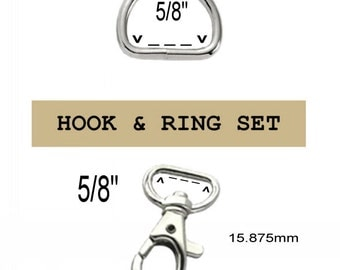 "50 SETS - 5/8"" - WRISTLET Hardware, Purse Strap Clip, 5/8 Inch D ring and 5/8 Inch Swivel Trigger Snap Lobster Claw Hook, 15.8mm"