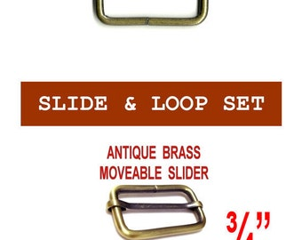 """20 SETS - 3/4"""" - Moveable Sliders and 3/4 inch Rectangular Loops, ANTIQUE BRASS, .75"""