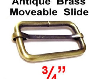 "10 Pieces - 3/4"" - Moveable Bar Slide, Strap Adjuster Slider, 19.05mm, Antique Brass"