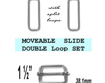 """2 DOUBLE Loop SETS - 1 1/2"""" - Moveable Sliders and 1 1/2 inch Rectangular Loops, Nickel Plate, 1.5"""
