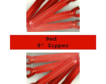 "Last of These - 10 ZIPPERS - YKK Sport Zippers - 8"" - Separating - Red"